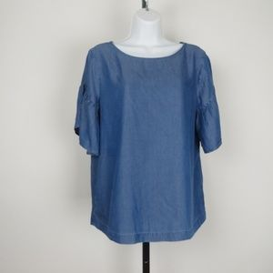 Loft medium chambray bell sleeve top